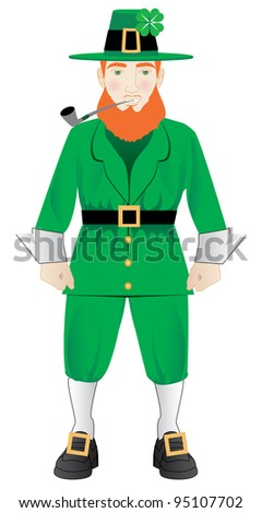 Vector Illustration of an Irish leprechaun with a pipe
