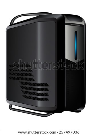 Vector illustration of an isolated gray server with blue led
