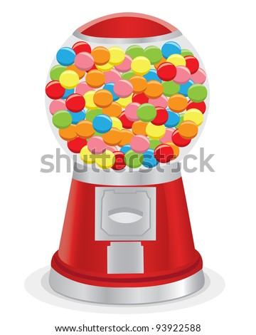 Vector illustration of an isolated red gumball machine. - stock vector