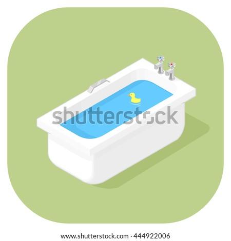 Vector illustration of an isometric bathtub Flat icon. Porcelain household bathtub with long shadow. Isometric Bathing. - stock vector