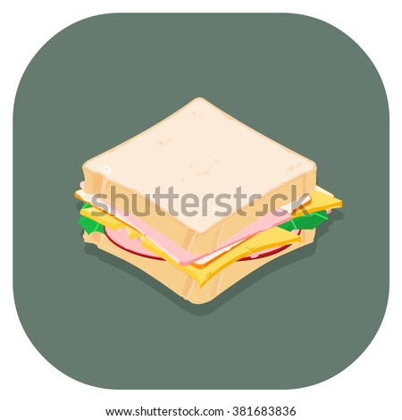 Vector illustration of an Isometric sandwich.  Healthy nutritious eating for lunch or a snack.  Food Internet Icon. - stock vector