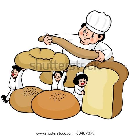 Vector illustration of an italian cartoon chef with a freshly baked bread. - stock vector