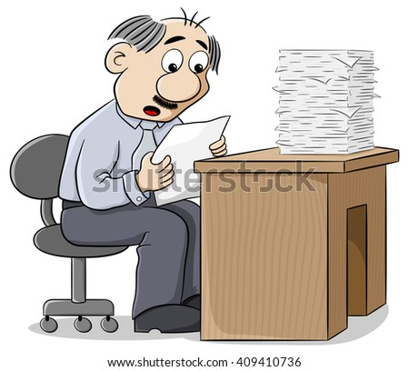 vector illustration of an office worker reads a letter dismayed at the news