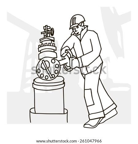 Vector illustration of an oilman on background infrastructure. - stock vector