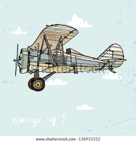 Vector illustration of an old airplane on a background of sky and clouds. - stock vector