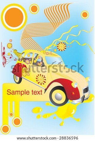 Vector illustration of an old car with flowers and guitar