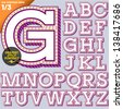 Vector illustration of an old fashioned alphabet. Vintage style. Magenta deco contour - stock vector