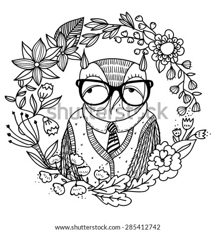 vector illustration of an old owl with abstract floral wreath - stock vector