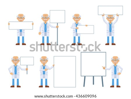 Vector illustration of an old professor with different blank banners - stock vector