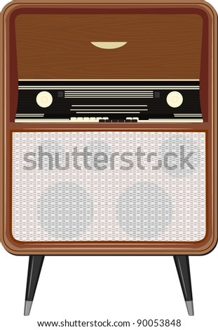 Vector illustration of an old radio on the legs - stock vector