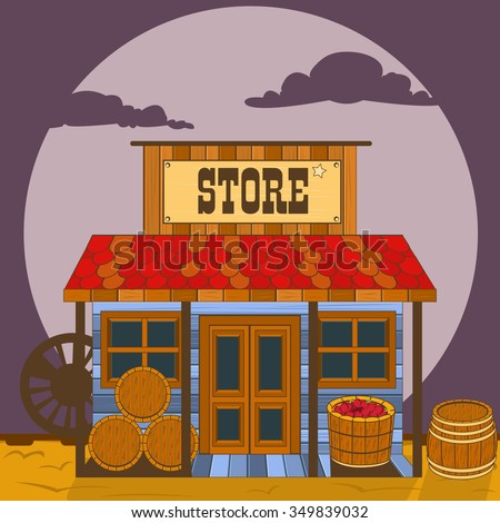 Vector illustration of an old west building - store. - stock vector