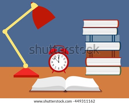 vector illustration of an open book, alarm clock and a reading lamp on the desk. - stock vector