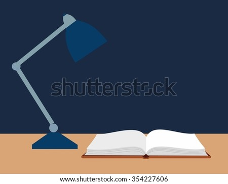 vector illustration of an open book and a reading lamp on the desk - stock vector