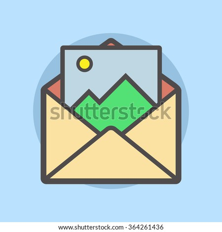 Vector illustration of an open envelope with a postcard in flat design