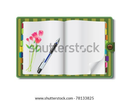 Vector illustration of an open floral diary book with a pen - stock vector