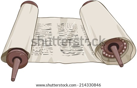 Vector illustration of an open torah scroll with text  - stock vector