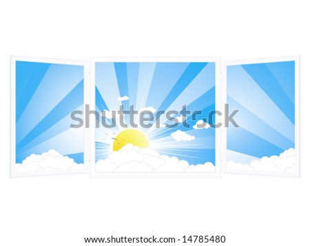 Vector illustration of an open window with a beautiful sunny day view.