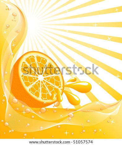 vector illustration of an orange background with a sun, drops, bubbles, waves - stock vector