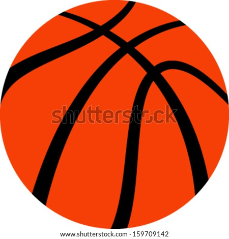 Vector illustration of an orange basketball - stock vector