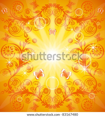 vector illustration of an orange floral ornament with butterfly. Eps10 - stock vector