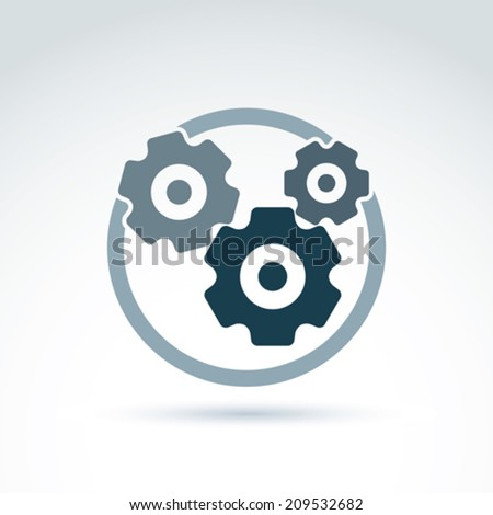 Vector illustration of an organization system, strategy concept. Cog-wheels and gears placed in a circle, service icon. Business and manufacturing process theme.  - stock vector