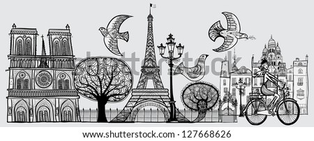Vector illustration of an original composition about Paris -all elements separated- - stock vector