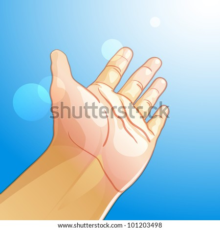 Vector illustration of an outstretched hand