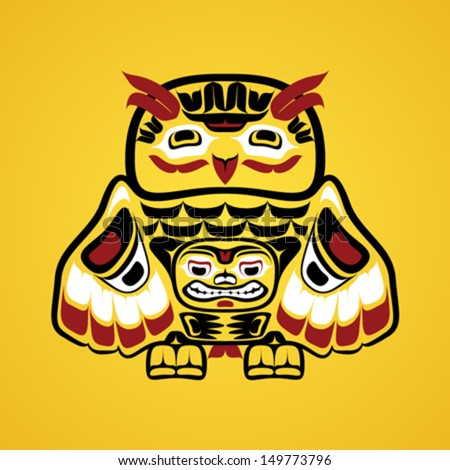 Vector illustration of an owl. Modern stylization of North American and Canadian native art in traditional colors - stock vector