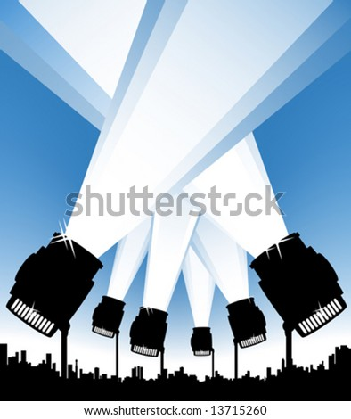 Vector illustration of an urban background with spotlights illuminating the sky. Show or event concept. - stock vector