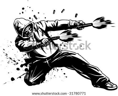 Vector illustration of an urban tough guy wearing a hoodie sweatshirt while down on one knee, firing two pistols. Casings fly and blood splatters as he takes a shot to the hip. - stock vector