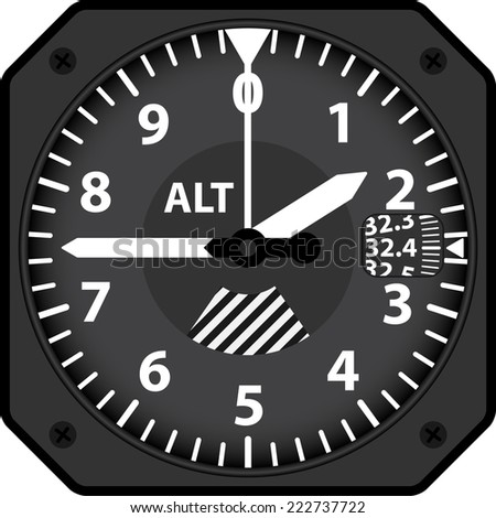 Vector illustration of analogical aircraft altimeter - stock vector