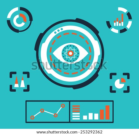 Vector illustration of analytics information on the dashboard and process of development - vector illustration - stock vector