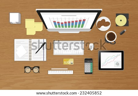 Vector illustration of analytics process using computer, smartphone, tablet pc. Realistic workplace with textured table. Top view - stock vector