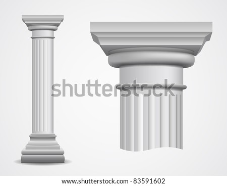 Vector illustration of ancient column. - stock vector