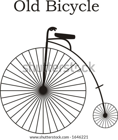 vector illustration of ancient old style bicycle, innovation of unicycle