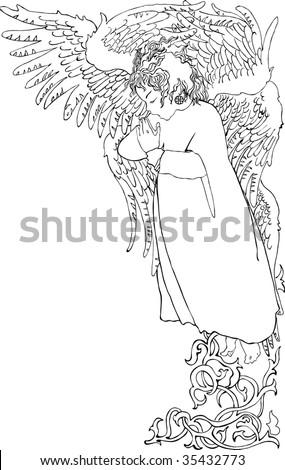 vector illustration of angel - stock vector