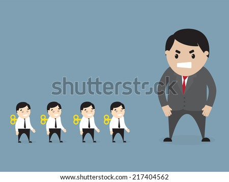 Vector illustration of  angry boss loking at employees . Flat design - stock vector