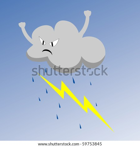 Vector illustration of angry cloud with rain and lightning - stock vector