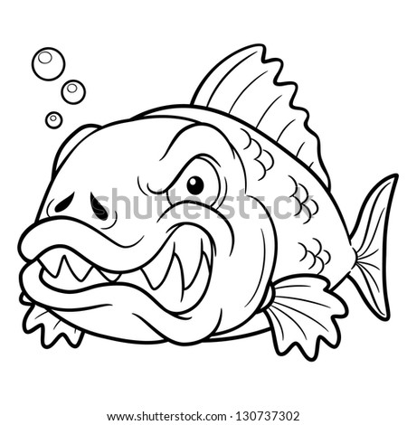 vector illustration of angry fish cartoon coloring book