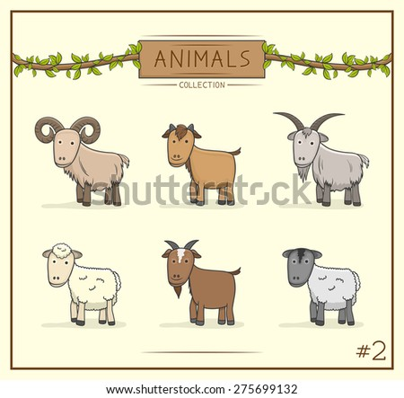 Vector Illustration of Animal cute collection set 2 - stock vector