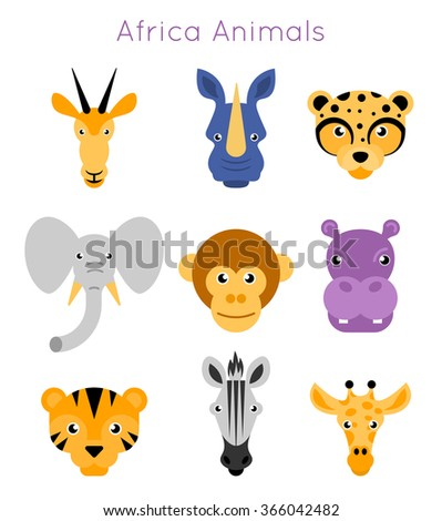 Vector illustration of animal faces. - stock vector