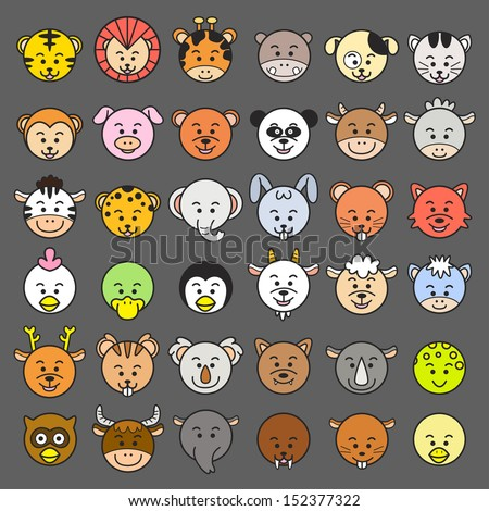 Vector illustration of animal faces. EPS10 File - no Gradients, no Effects, no mesh, no Transparencies.All in separate group for easy editing. - stock vector
