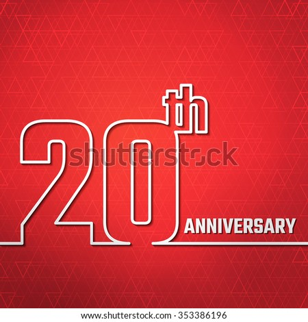 Vector Illustration of Anniversary 20th Outline for Design, Website, Background, Banner. Jubilee silhouette Element Template for greeting card - stock vector