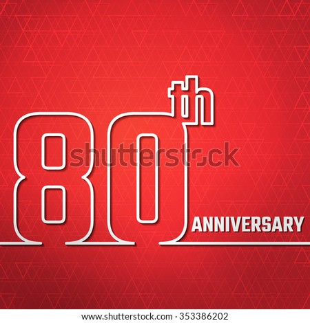 Vector Illustration of Anniversary 80th Outline for Design, Website, Background, Banner. Jubilee silhouette Element Template for greeting card - stock vector
