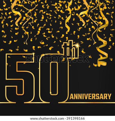 Vector Illustration of Anniversary 50th Outline for Design, Website, Background, Banner. Jubilee silhouette Element Template for festive greeting card. Shiny gold Confetti celebration - stock vector