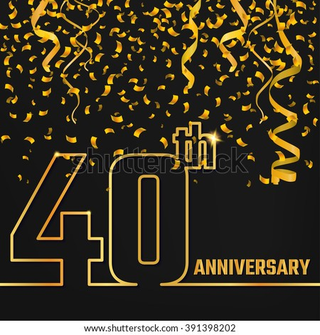 Vector Illustration of Anniversary 40th Outline for Design, Website, Background, Banner. Jubilee silhouette Element Template for festive greeting card. Shiny gold Confetti celebration - stock vector