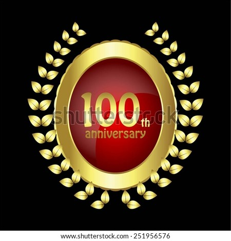 Vector illustration of Anniversary - 100 years. Gold - red on black. - stock vector