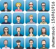 Vector illustration of anonymous faces with mustaches in set. Easy-edit layered vector EPS10 file scalable to any size without quality loss. High resolution raster JPG file is included. - stock vector