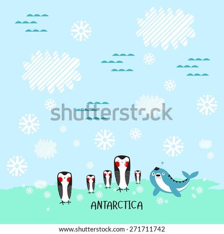 Vector illustration of Antarctica - stock vector