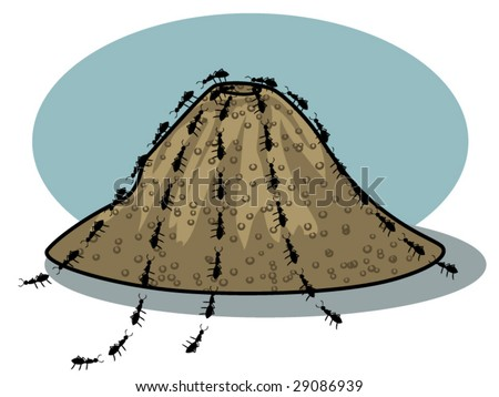 vector illustration of ants and an ant hill - stock vector